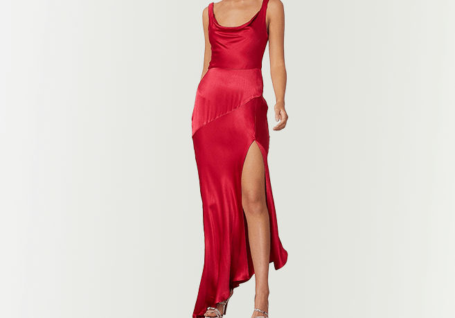 BEC & BRIDGE Red Satin Split Dress